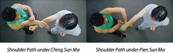 Перенаправление удара противника в плечо в стойке Чинсанма, и перенаправление удара противника в плечо в стойке Пьенсанма.